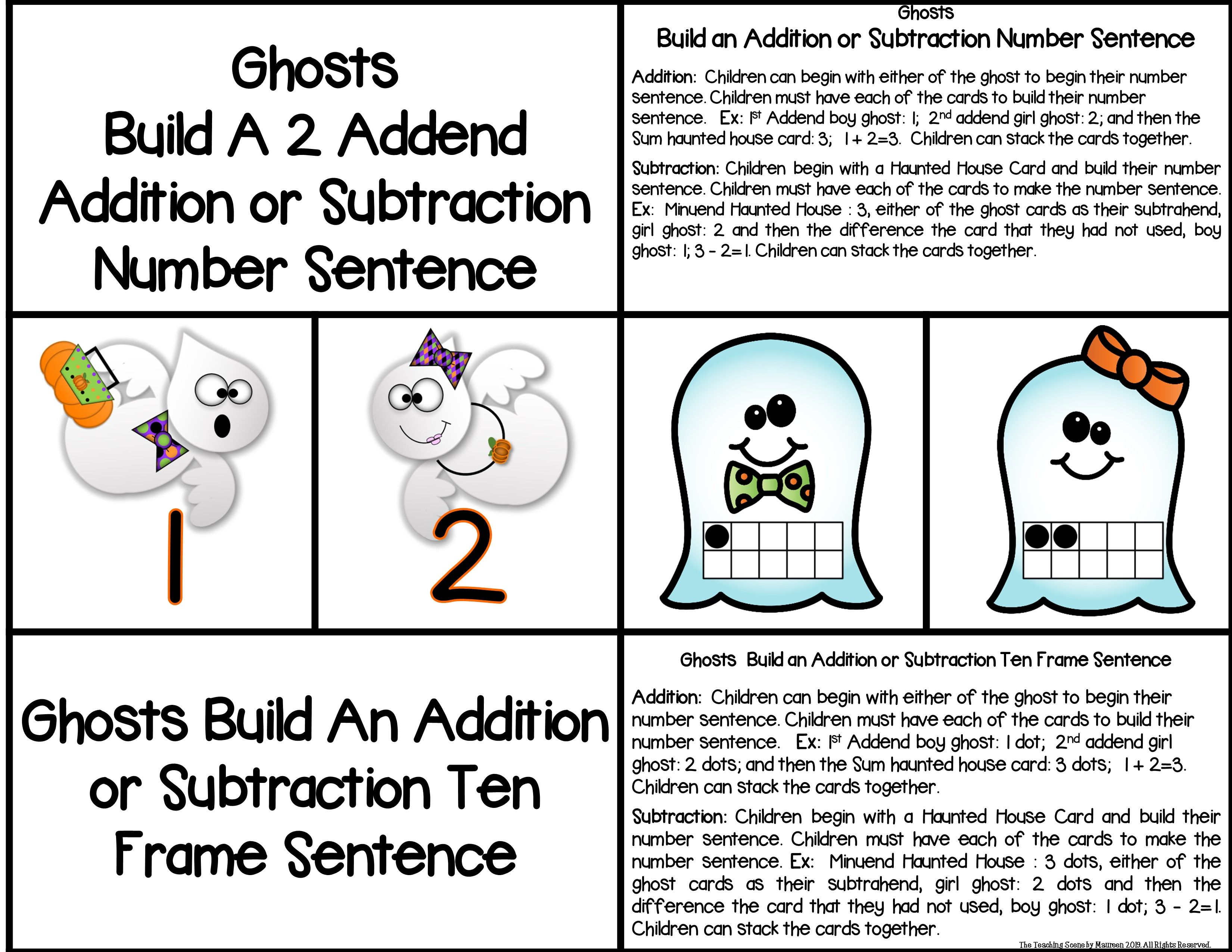 Ghosts Build A 2 Addend Number Sentence With Ten Frames