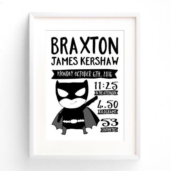 Superheld Geburt Ankündigung Kindergarten Druck, Batman