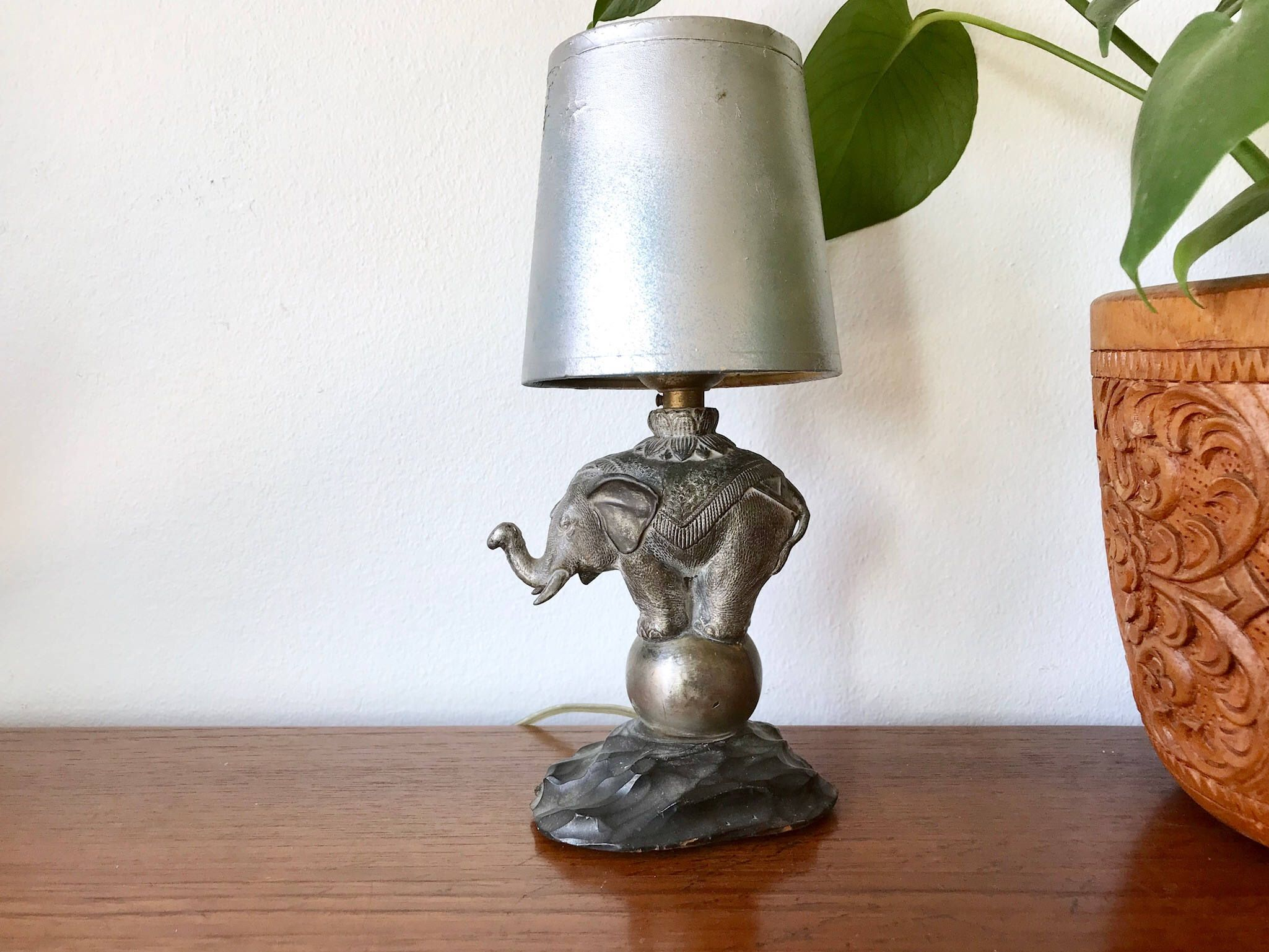 Vintage Brass Elephant Table Lamp Carved Rosewood Base Small Brass Elephant Asian Accent Lamp By Shopra Elephant Table Lamp Painting Lamp Shades Table Lamp