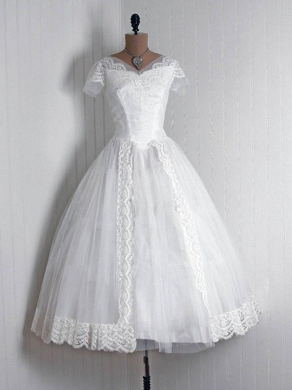 Wedding Dress: 1950\'s, scalloped floral lace and sheer net/tulle ...