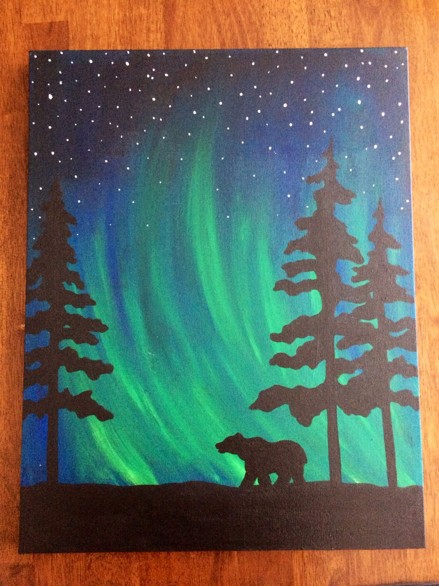 amazing Cool And Easy Paintings Part - 5: northern lights bear silhouette painting