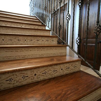 Wood Plank And Mosaic Stairs!