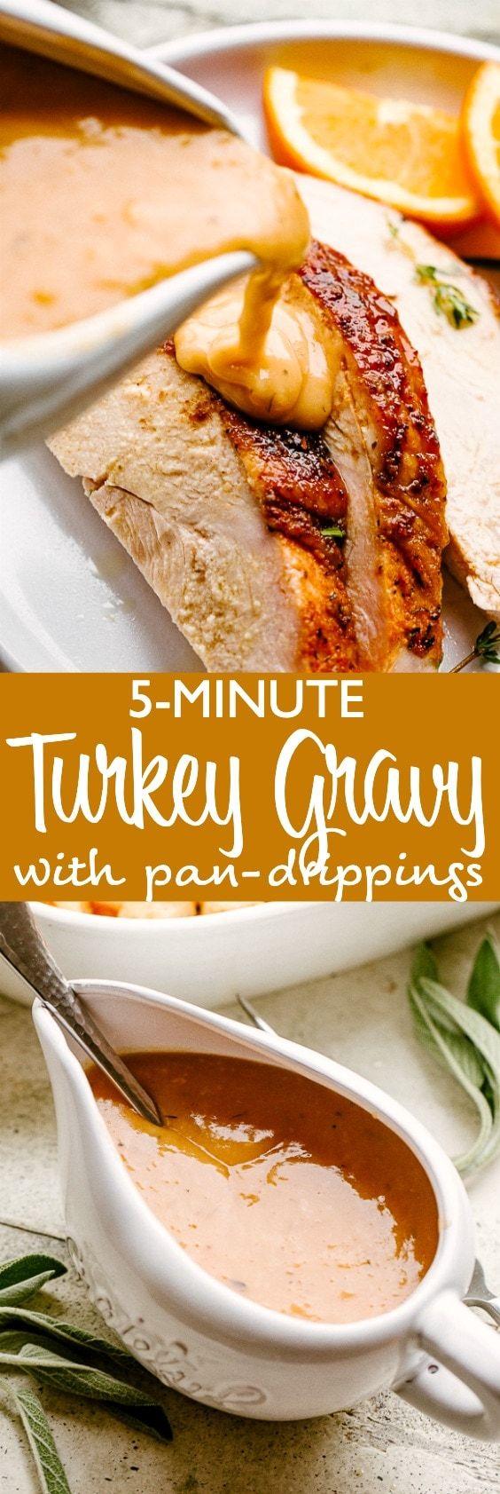 Easy Turkey Gravy Recipe with Pan Drippings | Diethood #turkeygravyfromdrippingseasy