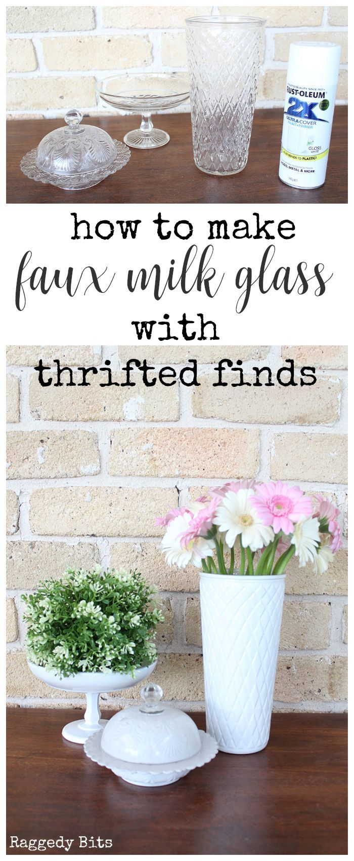 How to make Faux Milk Glass with Thrifted Finds #thriftstorefinds