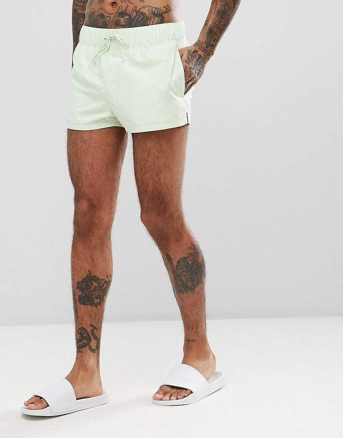 7f8d8682c4 ASOS DESIGN Swim Short In Pale Green In Super Short Length Swim Shorts, White  Shorts
