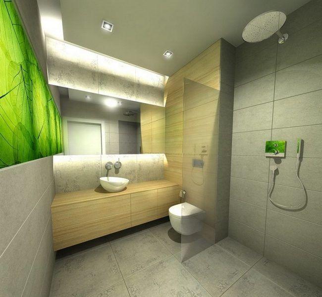 Badezimmer-Ideen-kleine-Baeder-gruene-Fototapete-Coco-Design Bad - fototapete für badezimmer