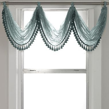 Royal Velvet Bianca Embroidered Rod Pocket Waterfall Valance Waterfall Valance Warehouse Of Tiffany Window Treatments