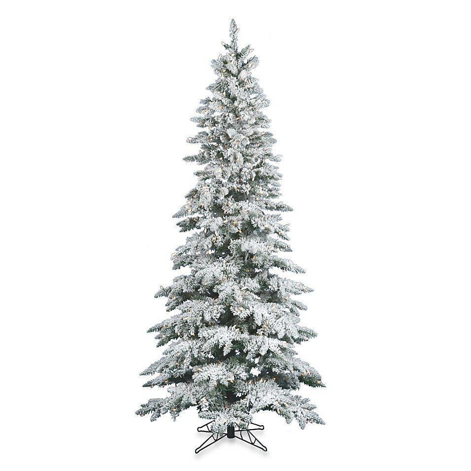 Vickerman Slim Utica Fir Pre Lit Flocked Christmas Tree With Clear Lights Bed Bath Beyond Slim Artificial Christmas Trees Fir Christmas Tree Flocked Christmas Trees