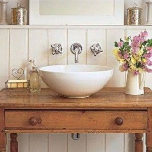 Ceramic Bowl Vessel Sink With Wooden Table Top , Vessel Sink Designs In  Downstairs Toilet