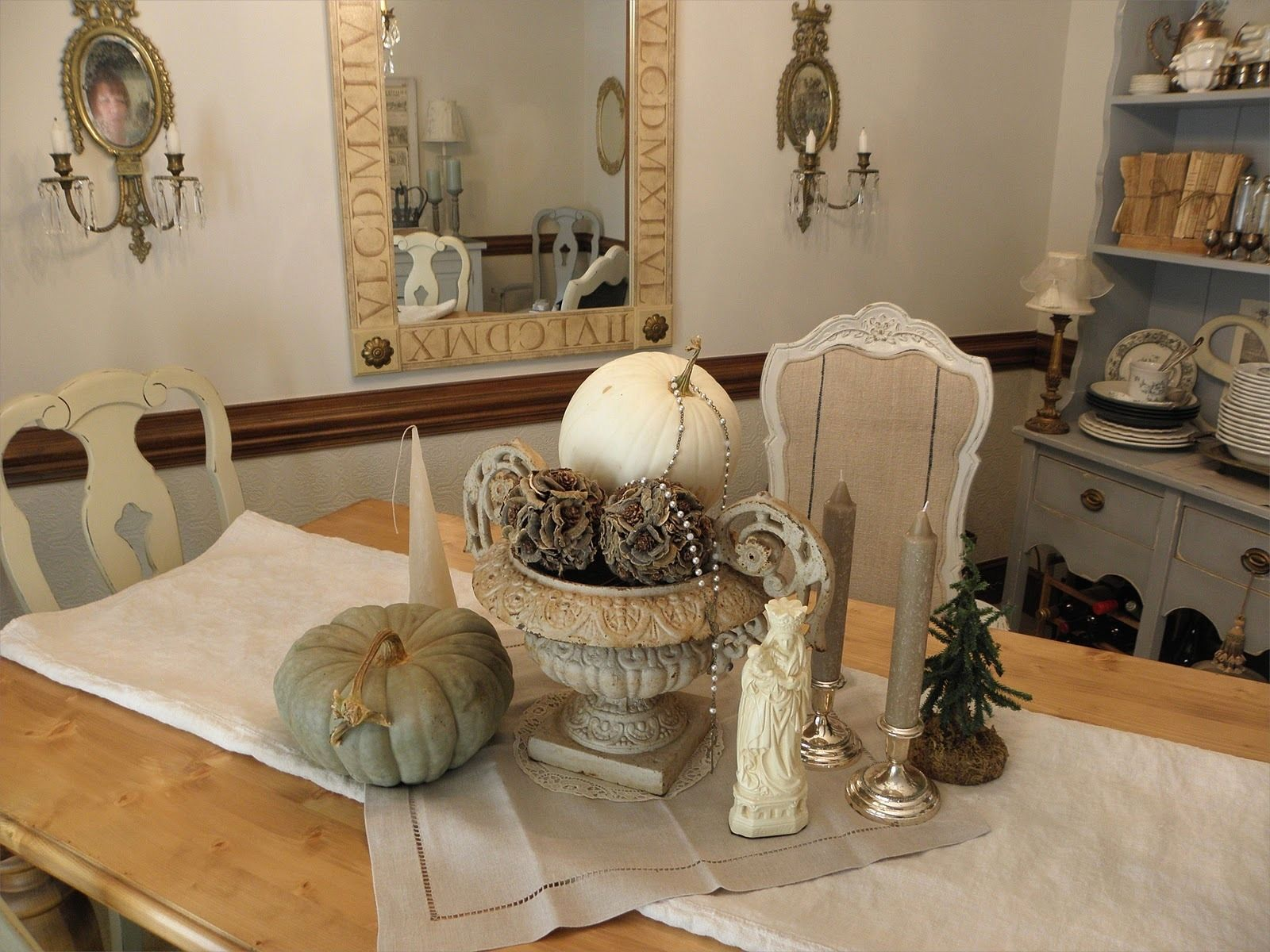 White Fall Decorations  Ideas Www Centerpiece For With White Cool Dining Room Center Pieces Design Ideas