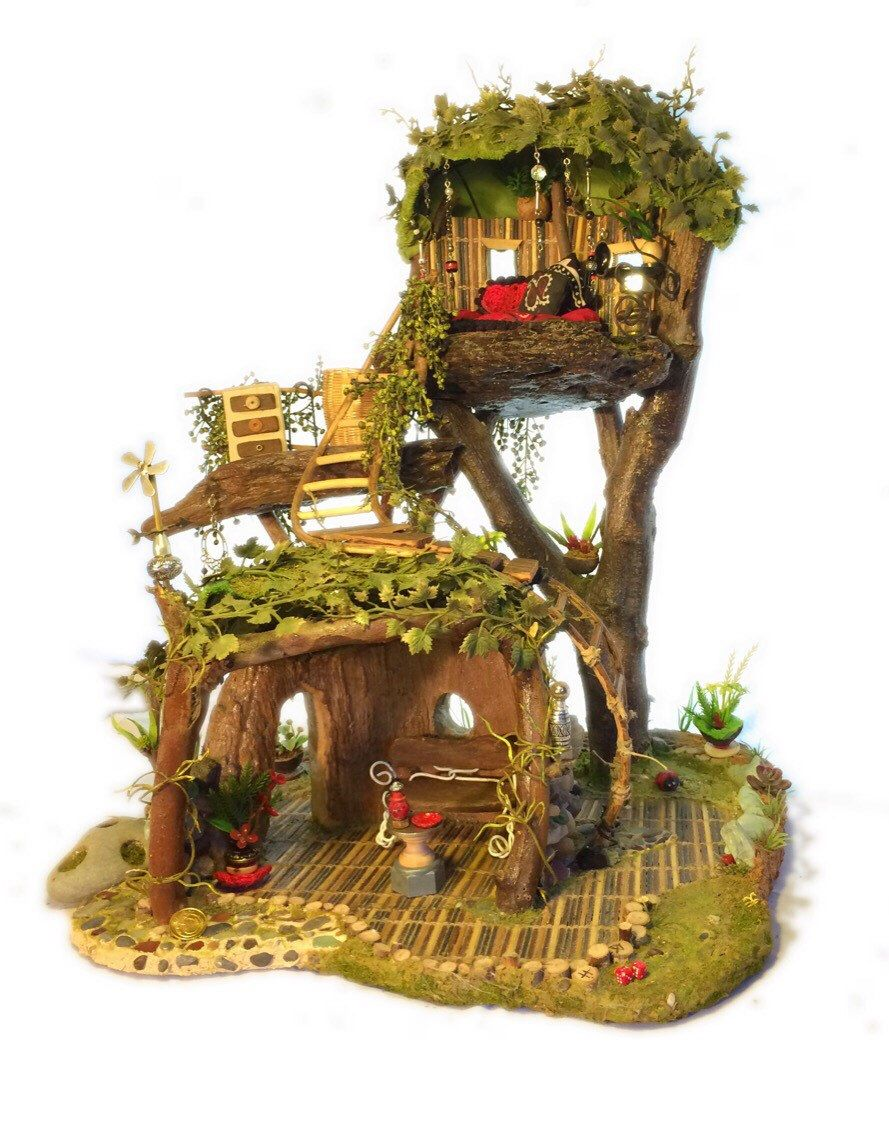 Enchanted fairy tree house here is a little faerie tree house linda - Fairy Garden House 3 Room Tree House With Moss Roof Outdoor Display