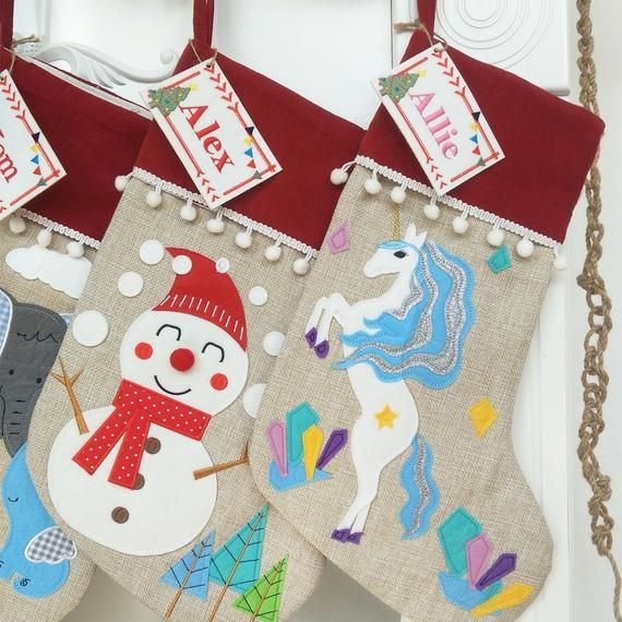 Personalized Christmas Stocking, Burlap Christmas Stocking with