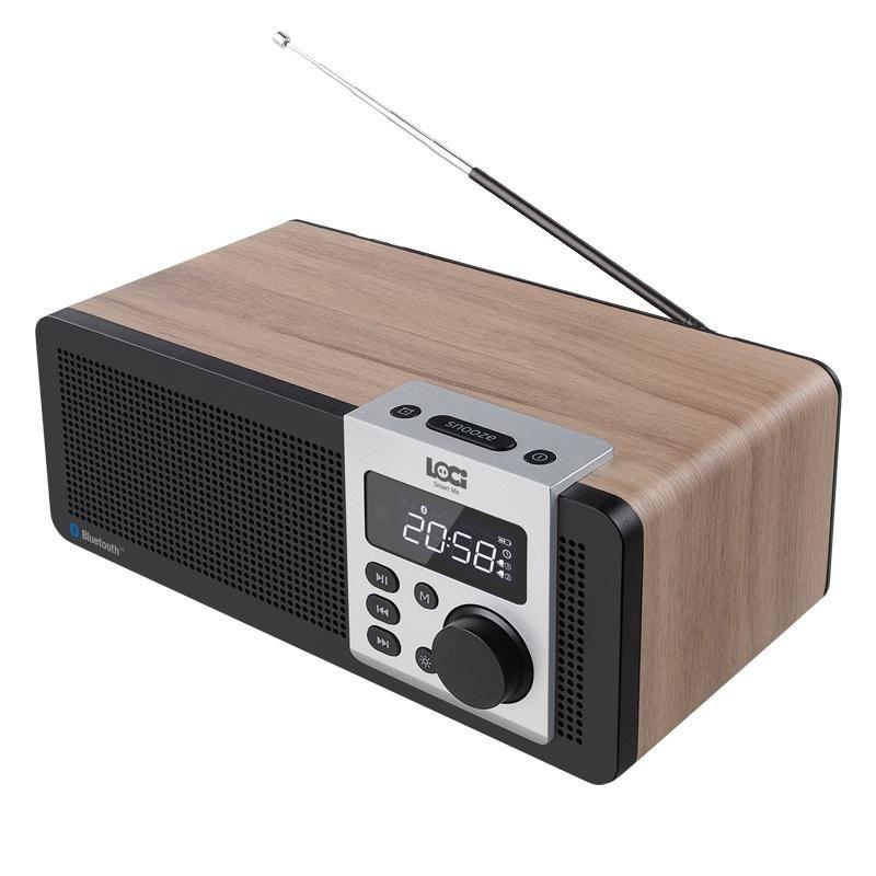 Wooden Stereo Bluetooth Dual Speaker Subwoofer FM Radio HiFi Music Clock Alarm