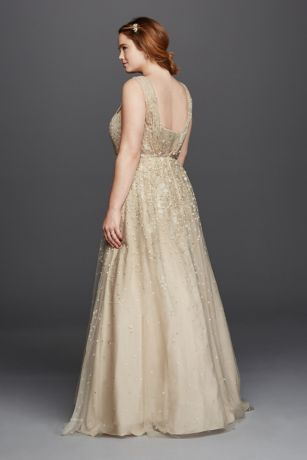 ff6dc6a026d Melissa Sweet Floral Wedding Dress with V-Neckline 8MS251151 ...