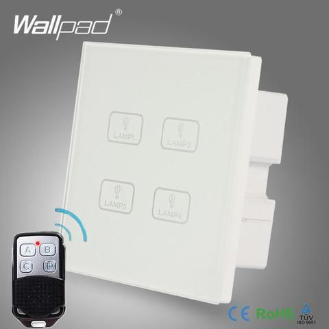 Remote 4 Gang Switch New Design Wallpad White Crystal Glass 4 Gang 2 Way 3 Way Wireless Remote Touch Scr Dimmer Light Switch Wireless Light Switch Light Switch