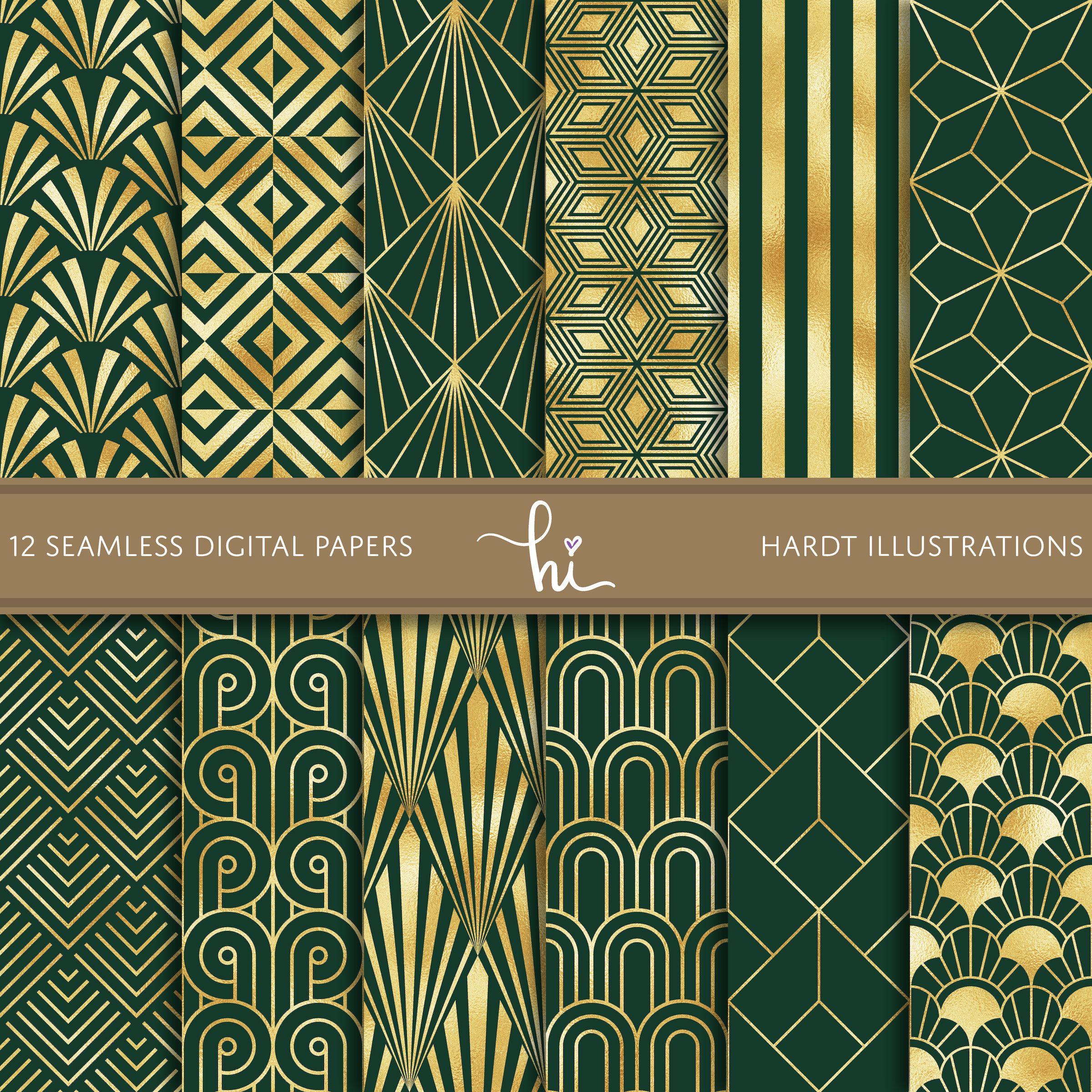 Emerald Gold Foil Art Deco Digital Paper Geometric Design Etsy Art Deco Wallpaper Art Deco Pattern Gold Foil Art