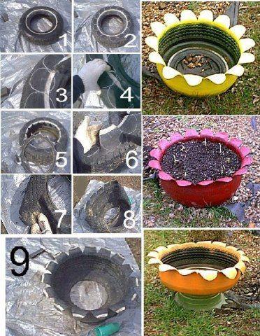 Llantas recicladas para el jardin reciclaje pinterest for Reciclaje para jardin