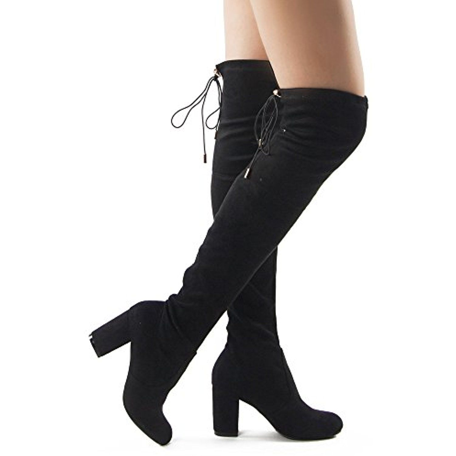 cb5c85287d3 RF Women s Thigh High Over The Knee Block Chunky Heel Pointy Round Toe  Boots BLACK With Free Shoelace (5.5)    Click image for more details.