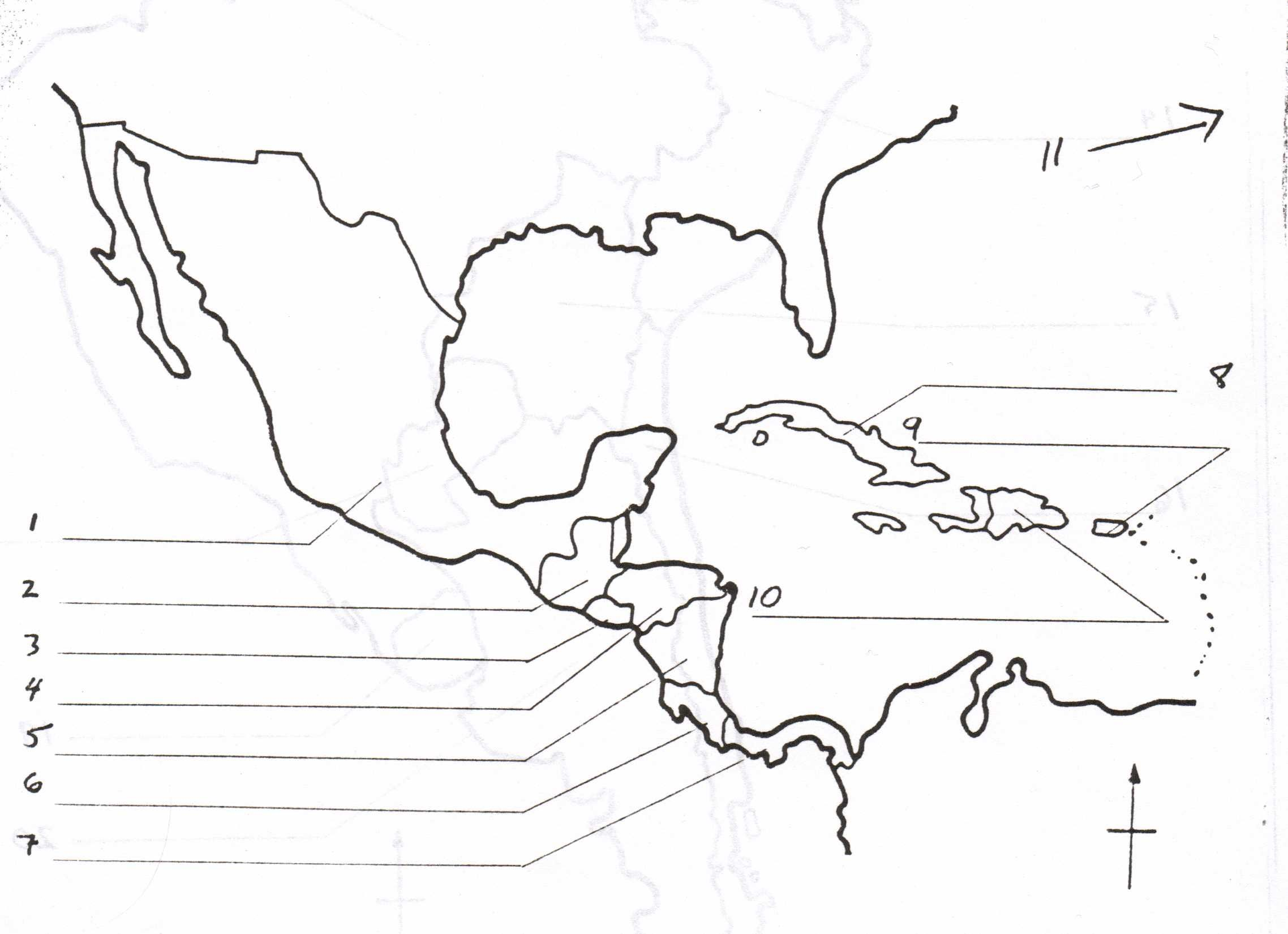 Blank Map Of Central America And Caribbean Islands With