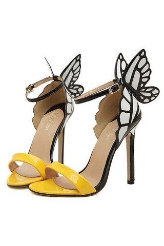Butterfly Wings Stiletter Gul/Hvid