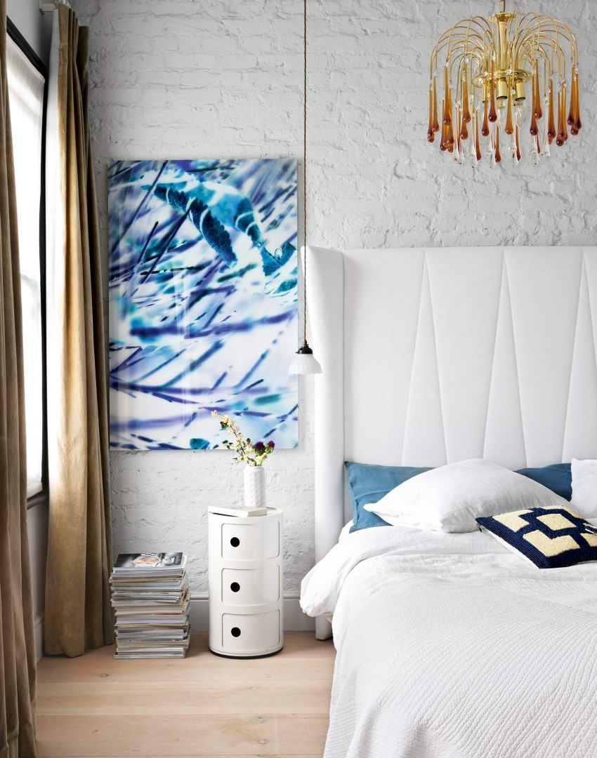 Smart Bedroom with Whitewashed Brick Wall and