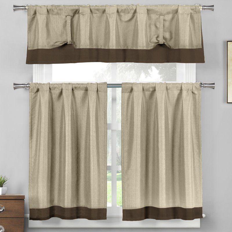 Francis 3 Piece Linen Kitchen Curtain Set Kitchen Curtain Sets
