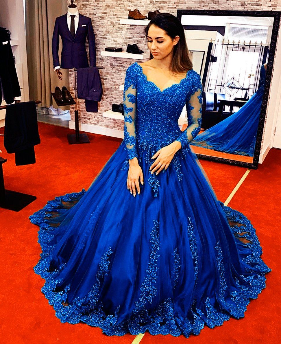 Long sleeves royal blue lace ball gowns wedding dresses