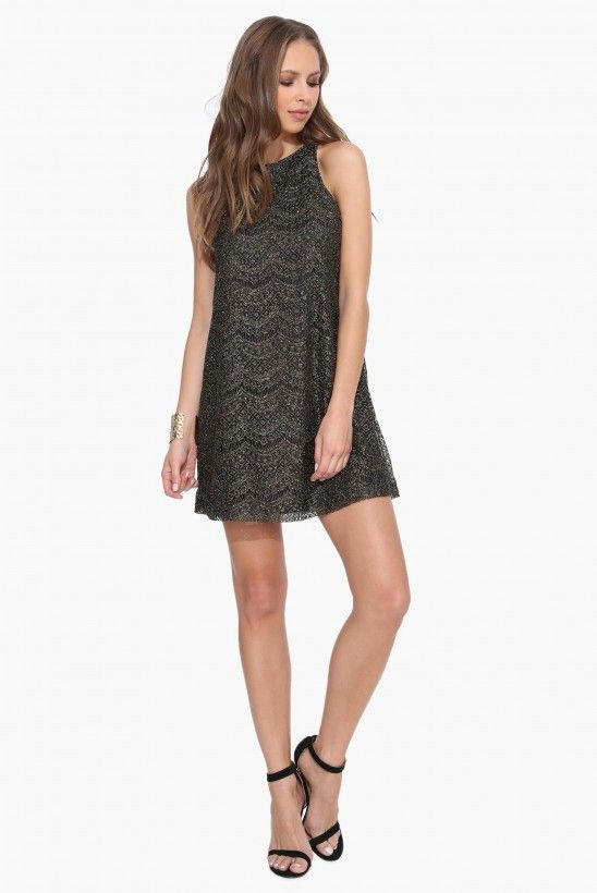 Ray Lace Glimmer Dress in Black | Necessary Clothing
