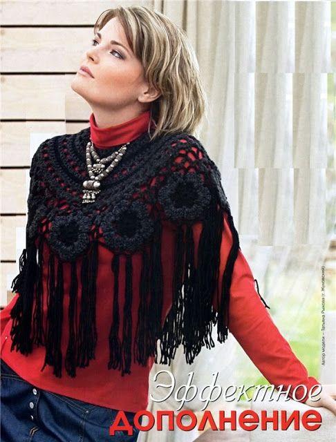 Patrones Crochet: Cuello Bufanda con Medallones y Flecos Patron ...