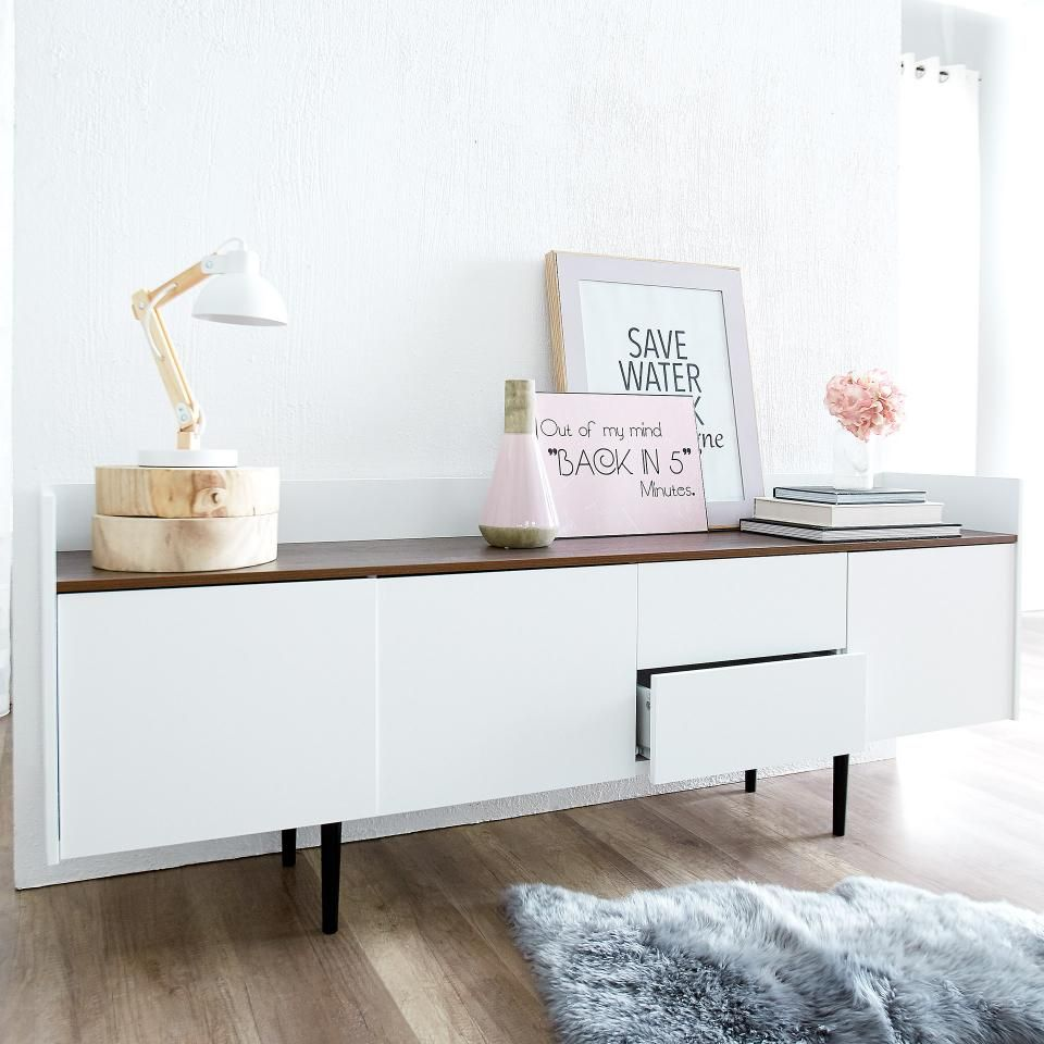 Sideboard Unit 3 2 Weiss Walnuss Danisches Bettenlager