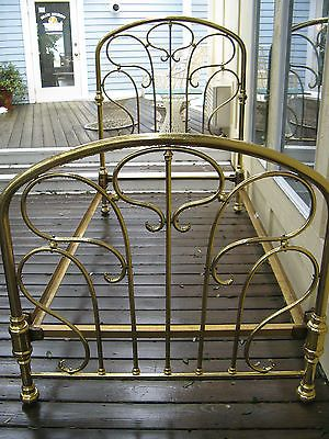 Pair Antique French Brass Art Nouveau Twin Bed Frames Circa 1880