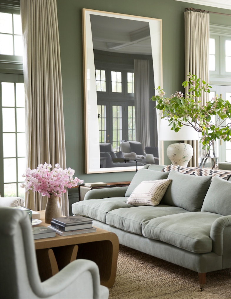 Love The Elegant Mix Of Sage Green Neutral Beiges Black And Gold In This Traditional Meet Glam Living Room Green Sage Green Living Room Glamorous Living Room #sage #green #couch #living #room #ideas