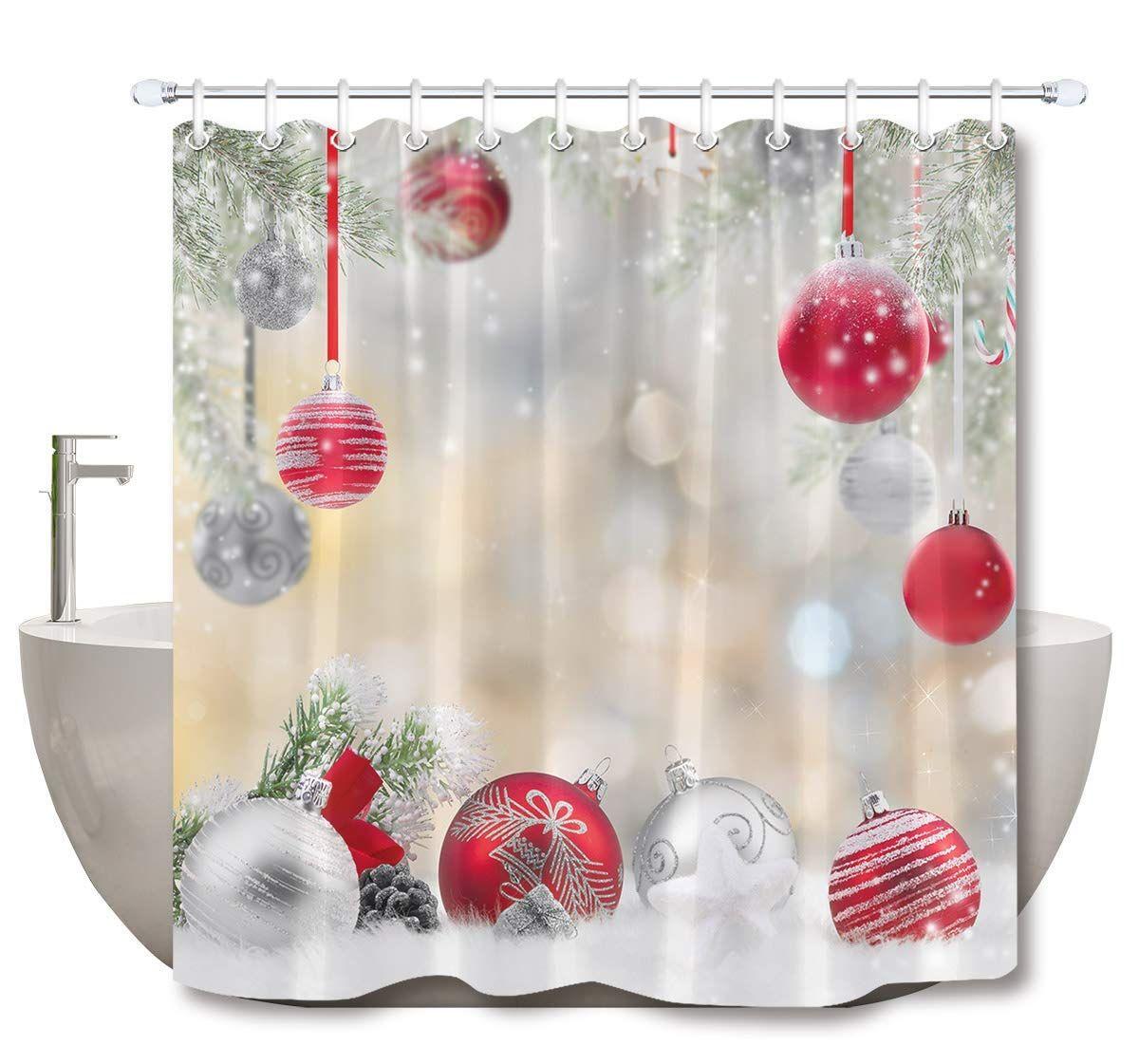 Lb Christmas Shower Curtain Set Cedar Snowflake Fashion Red
