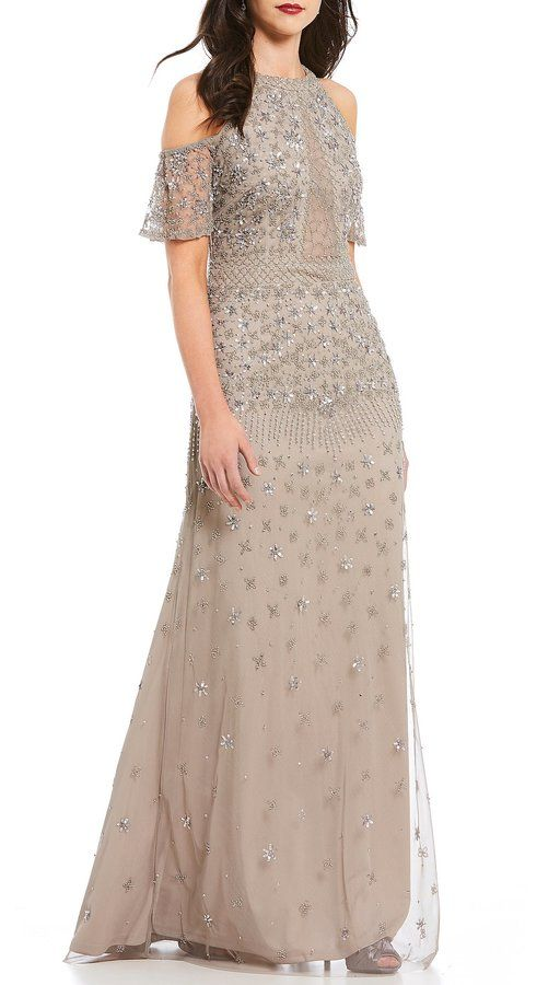 Adrianna Papell Cold Shoulder Beaded Gown At Dillards Wedding