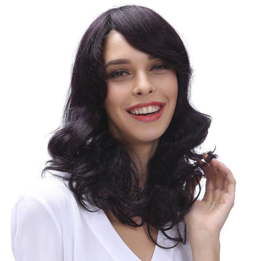 Womens Medium Wave Wig  Full Natural Human Hair Black Fashion