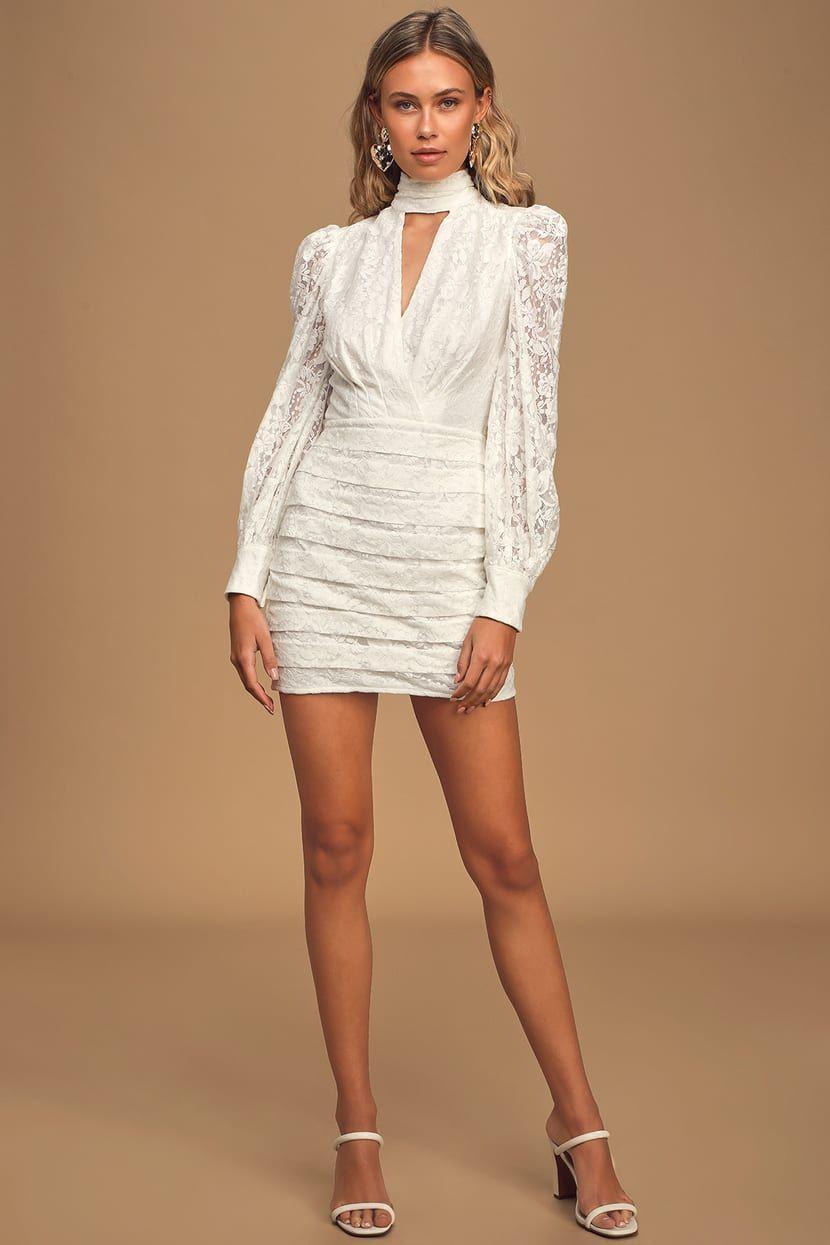 Sweetheart White Lace Long Sleeve Bodycon Mini Dress White Long Sleeve Mini Dress Long Sleeve Lace Mini Dress Long Sleeve Dress Formal [ 1245 x 830 Pixel ]