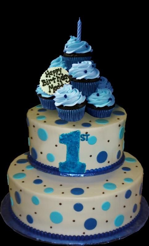 Blue Dots And Cupcakes 1st Birthday Cake White Ercream Iced Round 2 Tiers Decorated