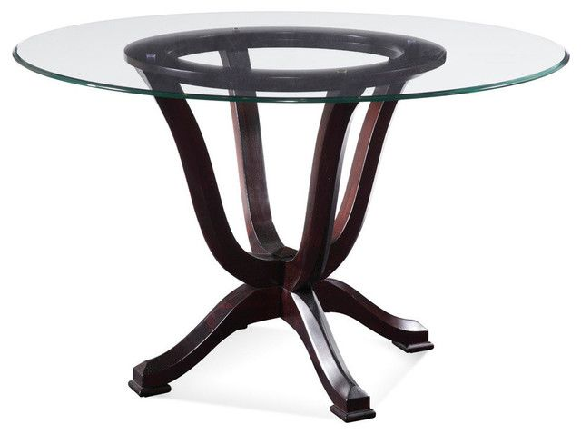 Transitional Dining Tables Houzz With 42 Round Glass Dining Table ...