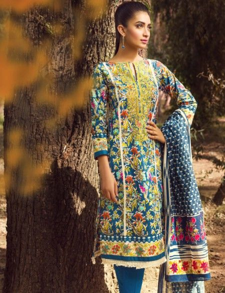 Khaadi Blue Pakistani Cotton Lawn Suit With  Dupatta B15536B