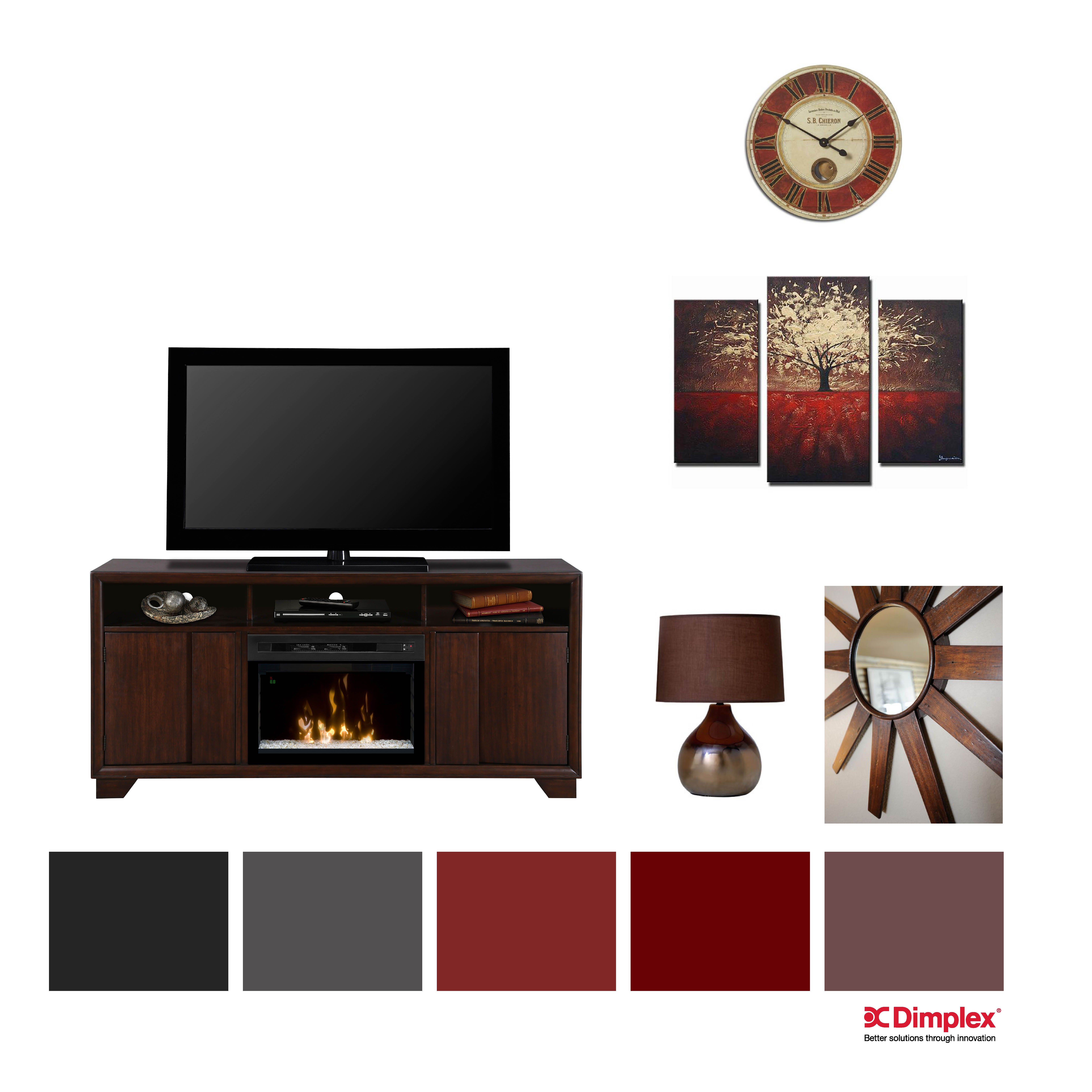 reds maroon mediaconsole fireplace add a little sophistication