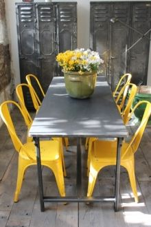 Industrial Lockers 3 Doors With A Metal Table And Yellow Tolix Chairs!  Fantastic! #