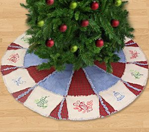 Country Christmas Tree Skirt Denim Plaid Raggy Look Embroidered Or Machine Embroidery Christmas Diy Christmas Tree Skirt Christmas Tree Skirts Patterns