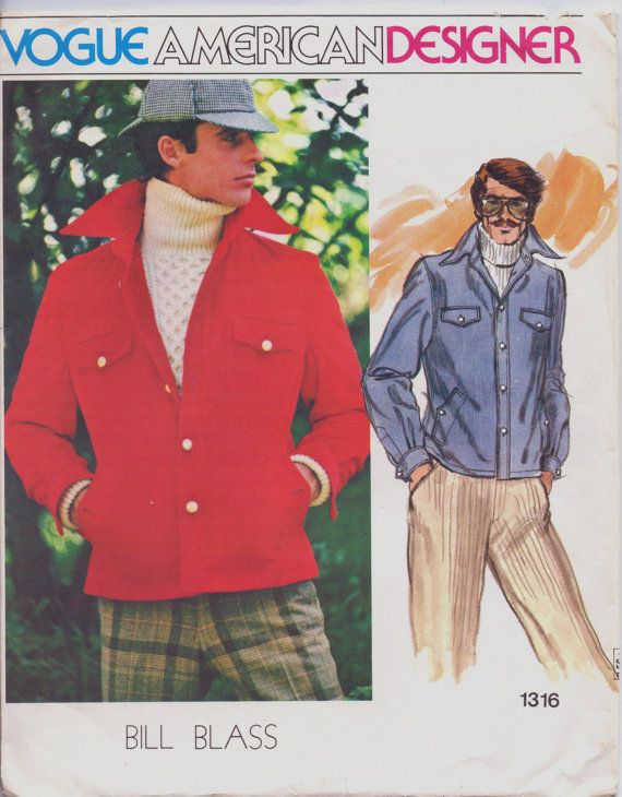 1970s Mens Jeans Style Jacket Bill Blass Vogue Sewing Pattern 1316 ...