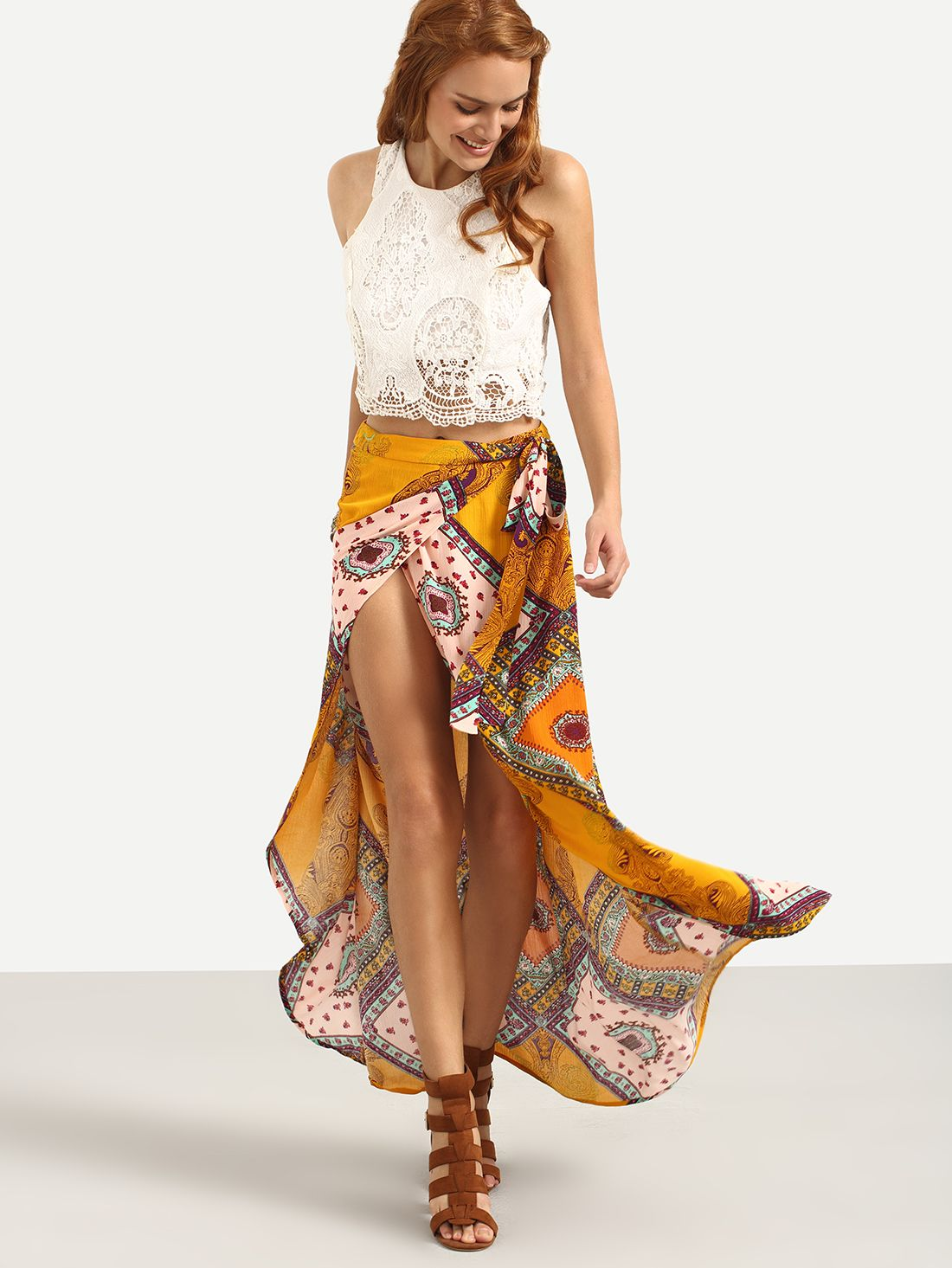 Shop multicolor print bow split skirt online shein offers multicolor print bow split skirt - Shein damenmode ...