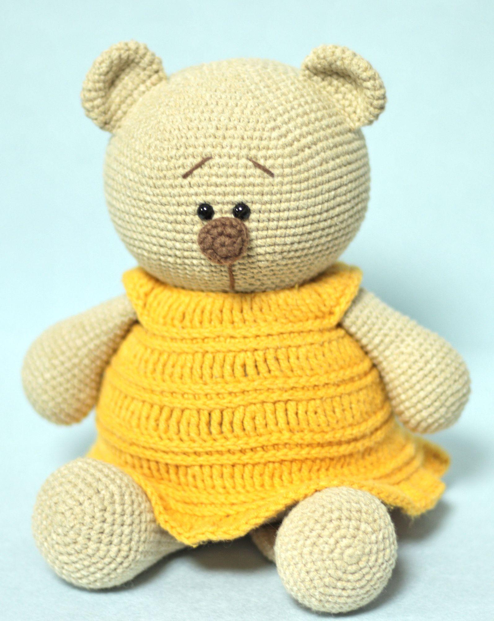 Crochet bear doll in yellow dress , amigurumi teddy bear , forest animal bear toy , toy for cuddling , stuffed bear, plush toy, baby shower #beartoy