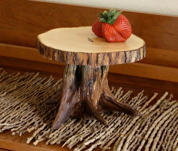 rustic tree stump cake stand cupcake stand or serving. Black Bedroom Furniture Sets. Home Design Ideas