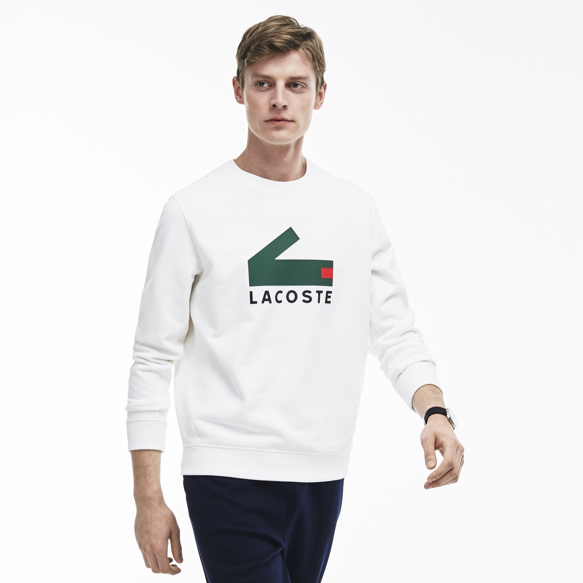 91223b9ca46d LACOSTE Men s Crocodile Print Cotton Fleece Sweatshirt - white.  lacoste   cloth