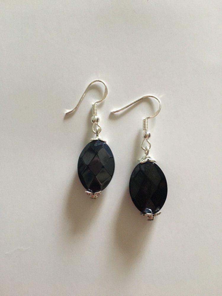 36ffee8c4 Faceted Black Sterling Silver Drop Earrings by GillysHandmadeGifts on Etsy