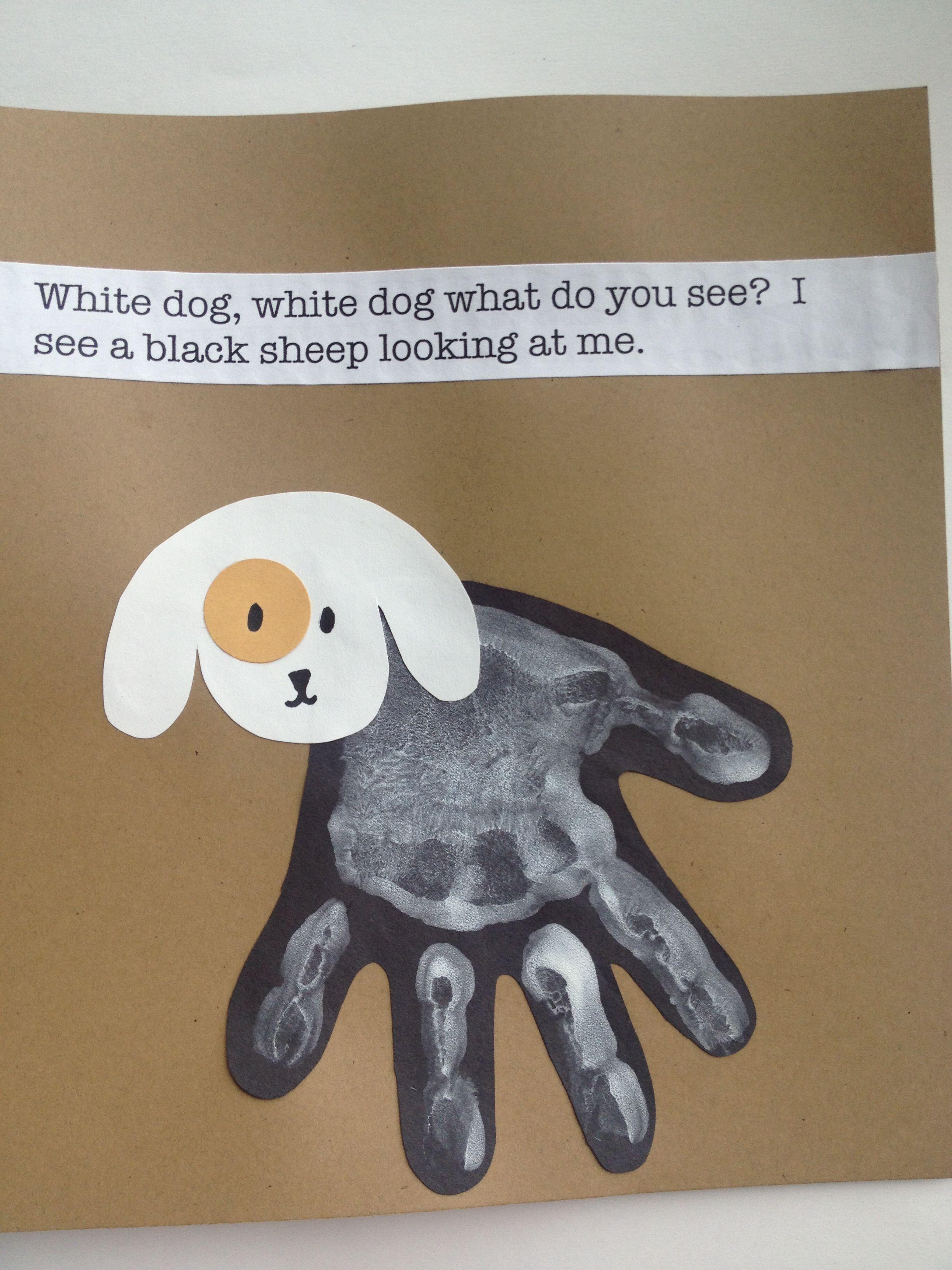 Handprint White Dog Preschool Craft Activities Brown Bear Book