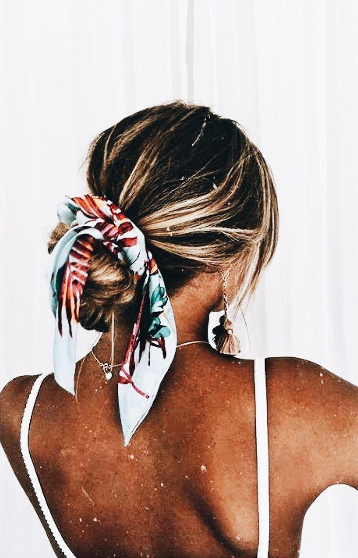 messy bun with a scarf #messybraids